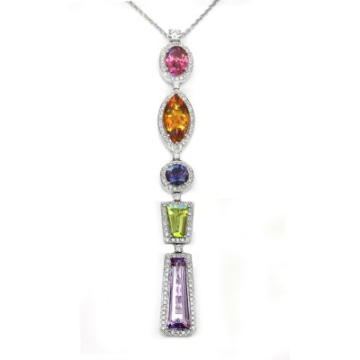 NJ Design Ladies Diamond & Multicolor Stone Necklace
