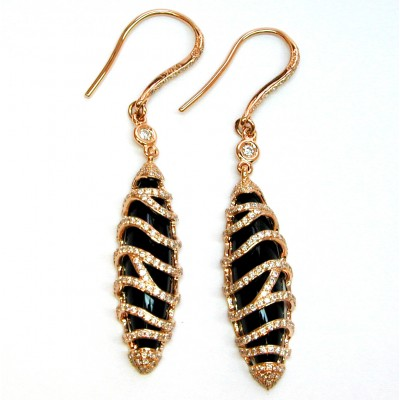 NJ Design Diamond and Onyx Earrings