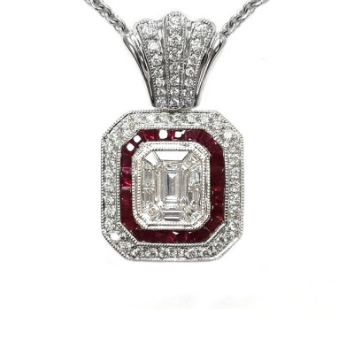 NJ Design Ladies Diamond Ruby Necklace
