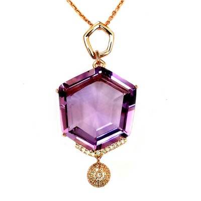NJ Design Diamond Amethyst Necklace