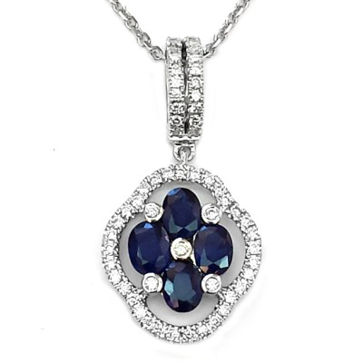 NJ Design Diamond Sapphire Necklace