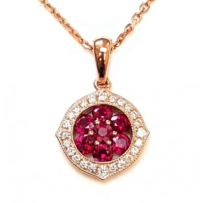 NJ Design Diamonds-Rubies Necklace
