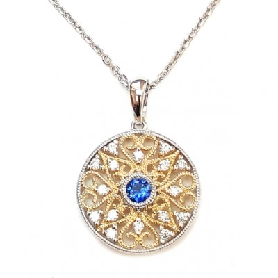 NJ Design Diamonds-Sapphire Necklace