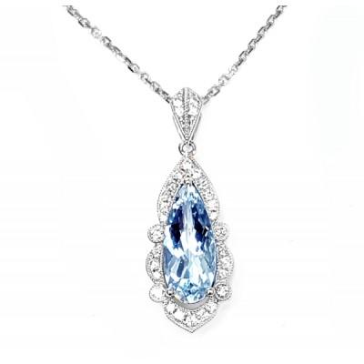 NJ Design Diamonds-Aquamarine Necklace