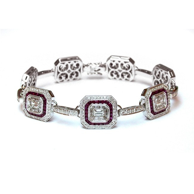 NJ Design Diamond Ruby Bracelet