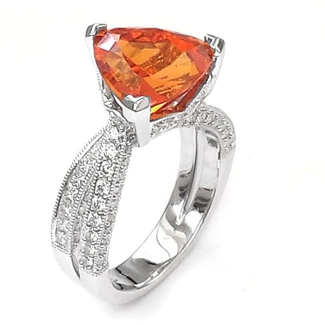 NJ Design Diamond Mandarin Garnet Ring
