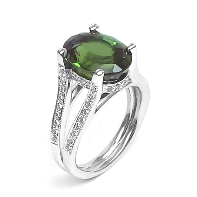 NJ Design Diamond Tourmalin Ring