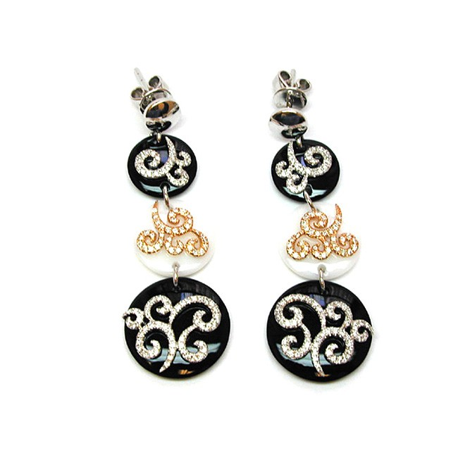NJ Design Diamond Blck and White Onyx Earrings
