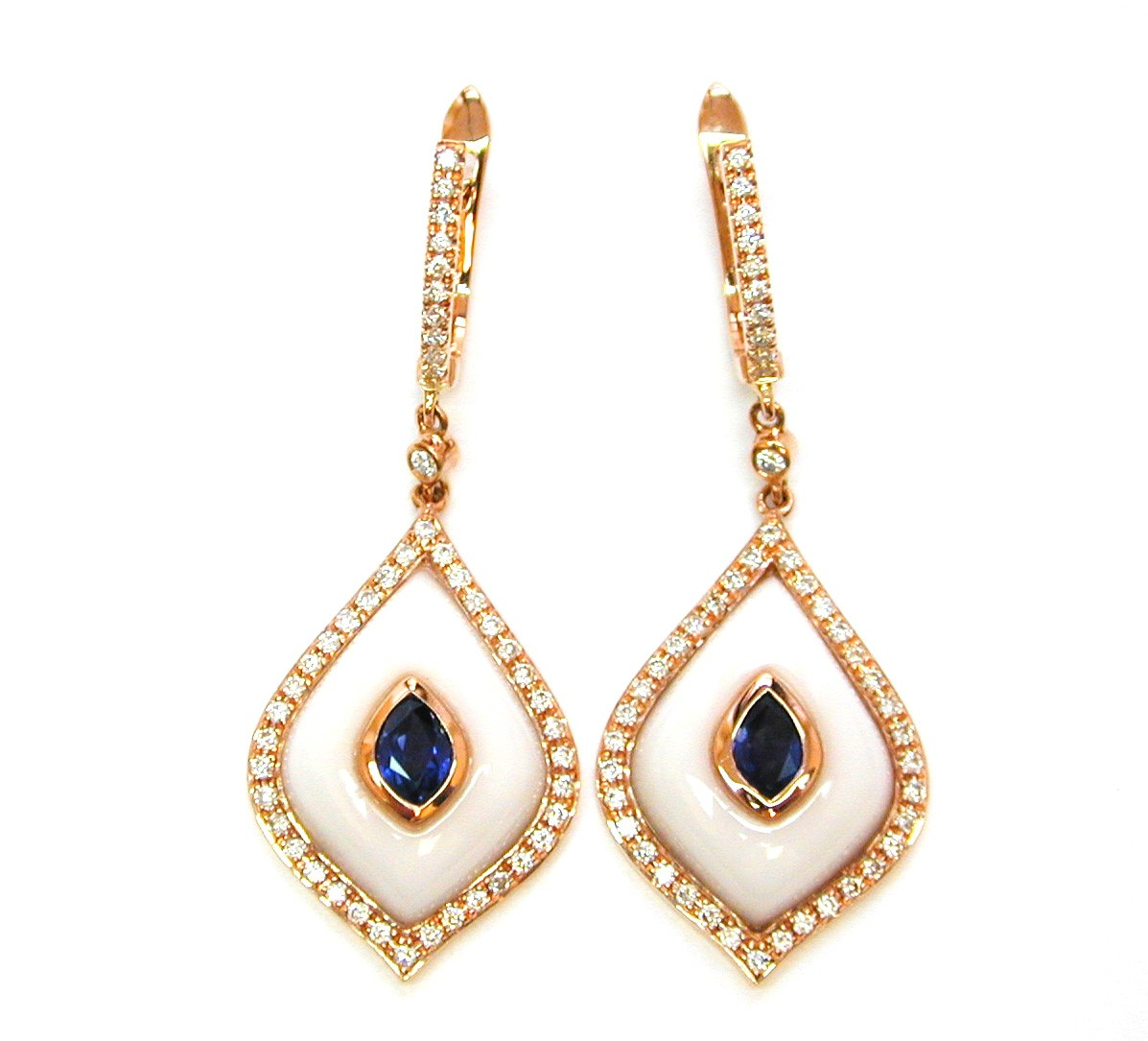 NJ Design Diamond, Sapphire &  White Onyx Earrings