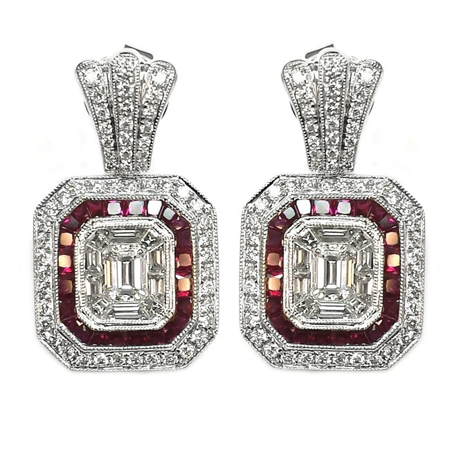 NJ Design Diamond Ruby Earrings
