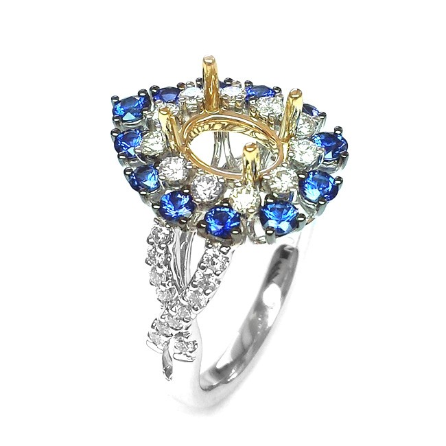 NJ Design Diamond  Sapphire Ring