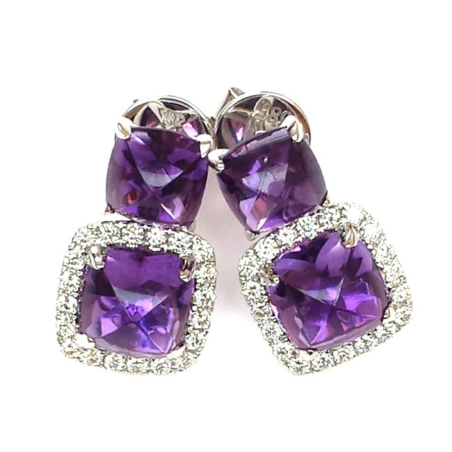 NJ Design Diamond Amethyst Earrings