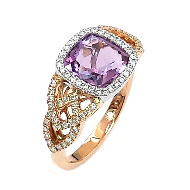 NJ Design Diamond Amethyst Ring