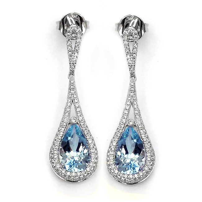NJ Design Diamond Aquamarine Earrings