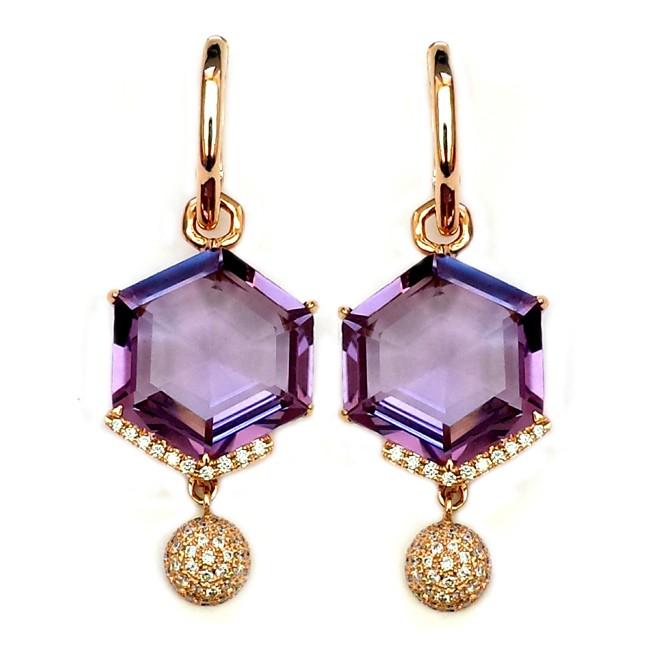 NJ Design Diamond Amethyst Earrings