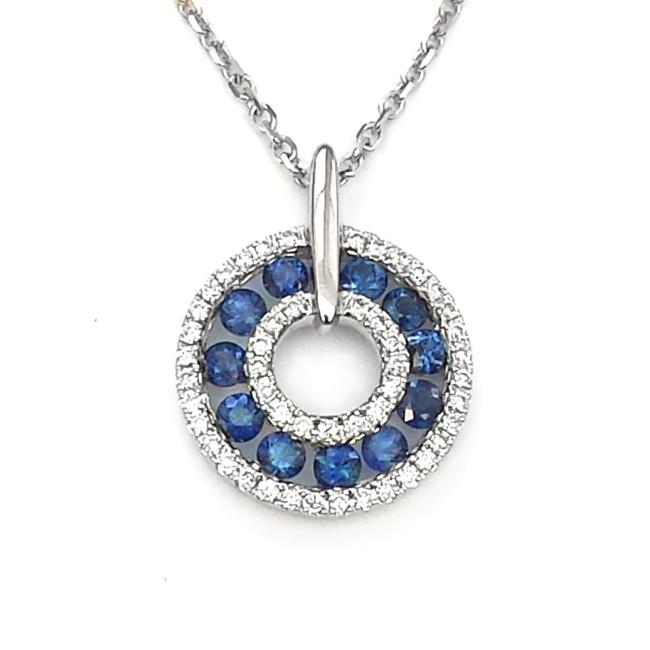 NJ Design Diamond Sapphire Pendant
