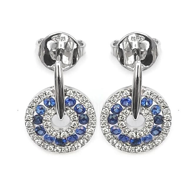 NJ Design Diamond Sapphire Earrings