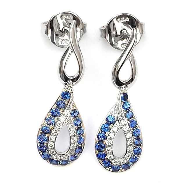 NJ Design Diamond Sapphire Earrings