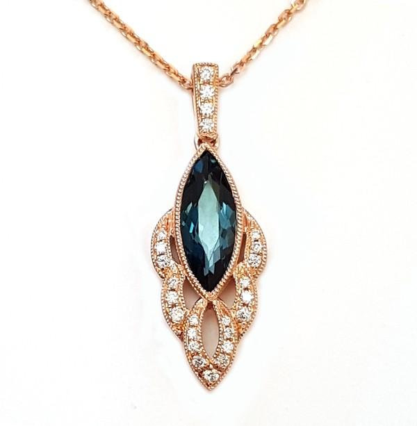 NJ Design Diamonds-Blue Topaz Necklace