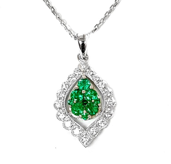 NJ Design Diamonds-Emeralds Necklace